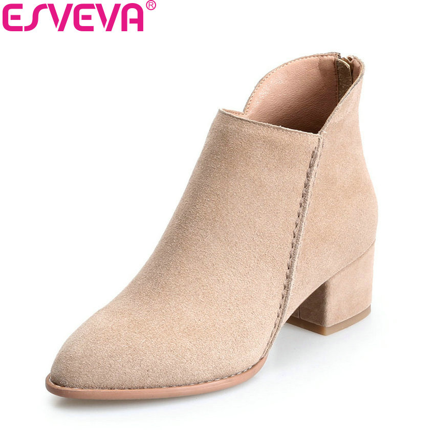 ESVEVA 2018 Women Boots Elegant Square High Heels Pointed Toe Ankle Boots Appointment Lining Warm Fur/PU Ladies Shoes Size 34-39 esveva 2018 women boots zippers square high heels appointment warm fur pointed toe ankle boots chunky ladies shoes size 34 39