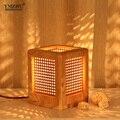 2016 Nordic новое простые прямоугольные настольная лампа гостиная спальня ночники Деревянные декоративные дизайнер освещения