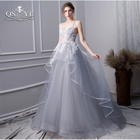 QSYYE 2019 New Arrival Long Prom Dresses White Lace Gray Tulle Sexy Sweetheart Floor Length Tulle Formal Evening Dress Party