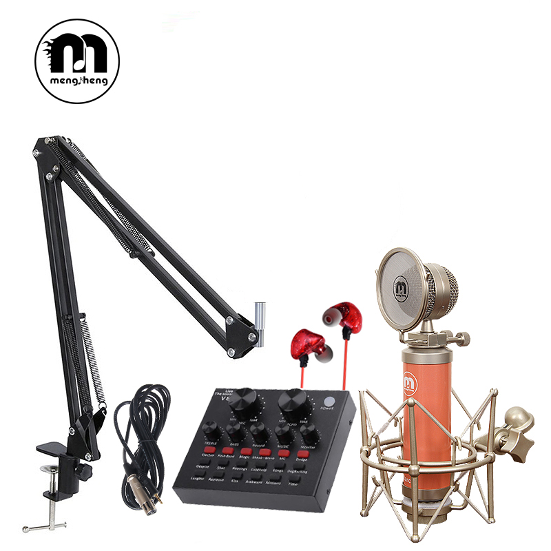 Hot Professional full set of Marcia BM 800 Condenser microphone Phantom power USB sound card Recording studio KTV/PC Microphone microphone for computer professional bm 800 condenser microphone 48v phantom power usb sound card studio ktvhave a small gift