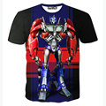 Novos transformadores 3D T camisa homens t-shirt Homme 2016 moda Optimus Prime engraçado impresso t-shirt dos homens de Slim elástico