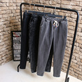 L2 Autumn Winter Casual Women Jeans 4XL Plus Size Clothes Washed Scratch Drawstring waist Loose Fashion Denim pencil pants 1085