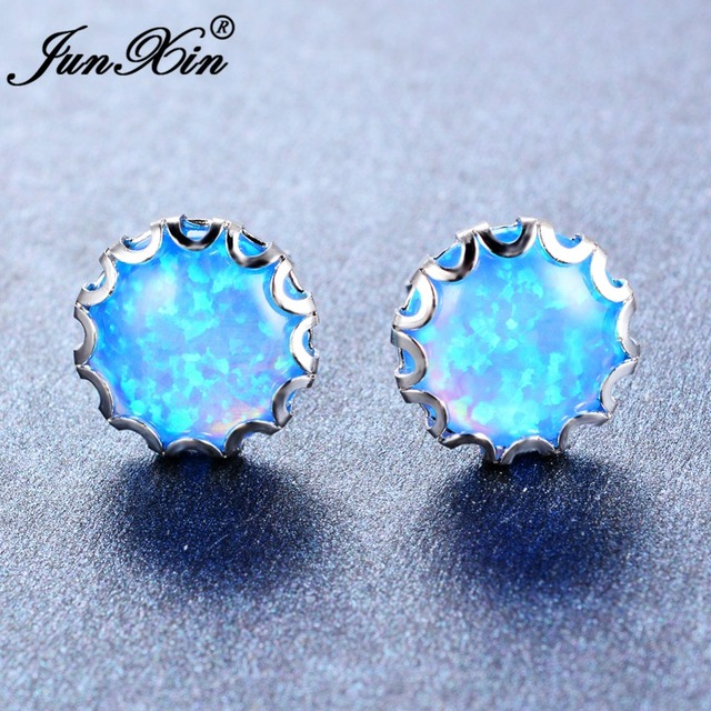 Junxin Simple Female Round White Blue Fire Opal Stud Earring 925 Sterling Silver Filled Jewelry Double Earrings For Women