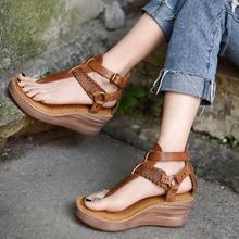 Artmu Original New Retro Thick-soled Cowhide Platform Women Sandals Wedges Heels High Handmade Leather 6606-8