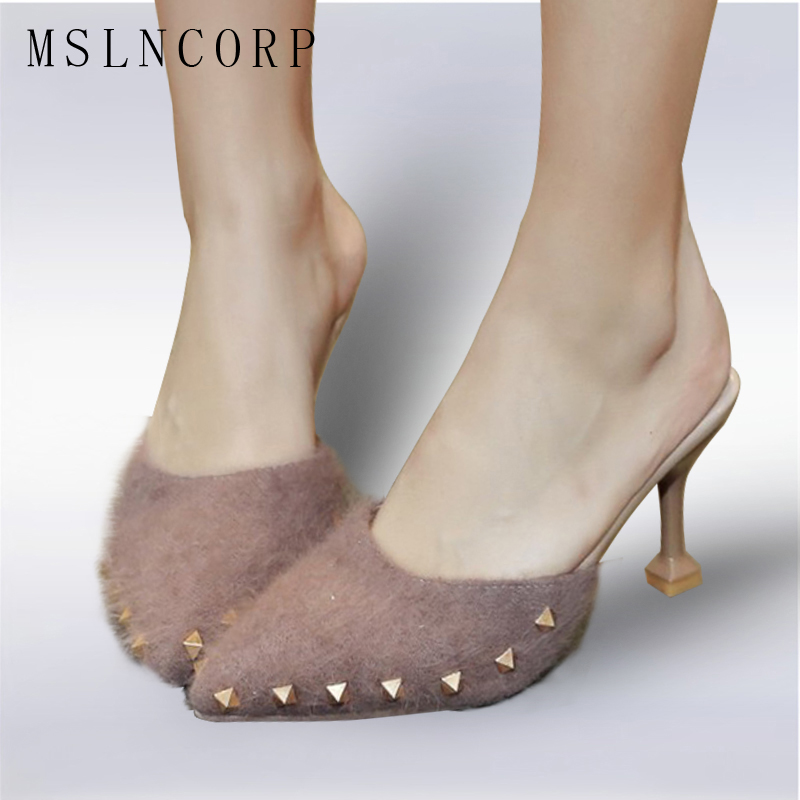 Size 34-43 New fashion pointed toe spring Autumn Summer Flock shoes woman elegant high heels women slippers Pearls rivets slides