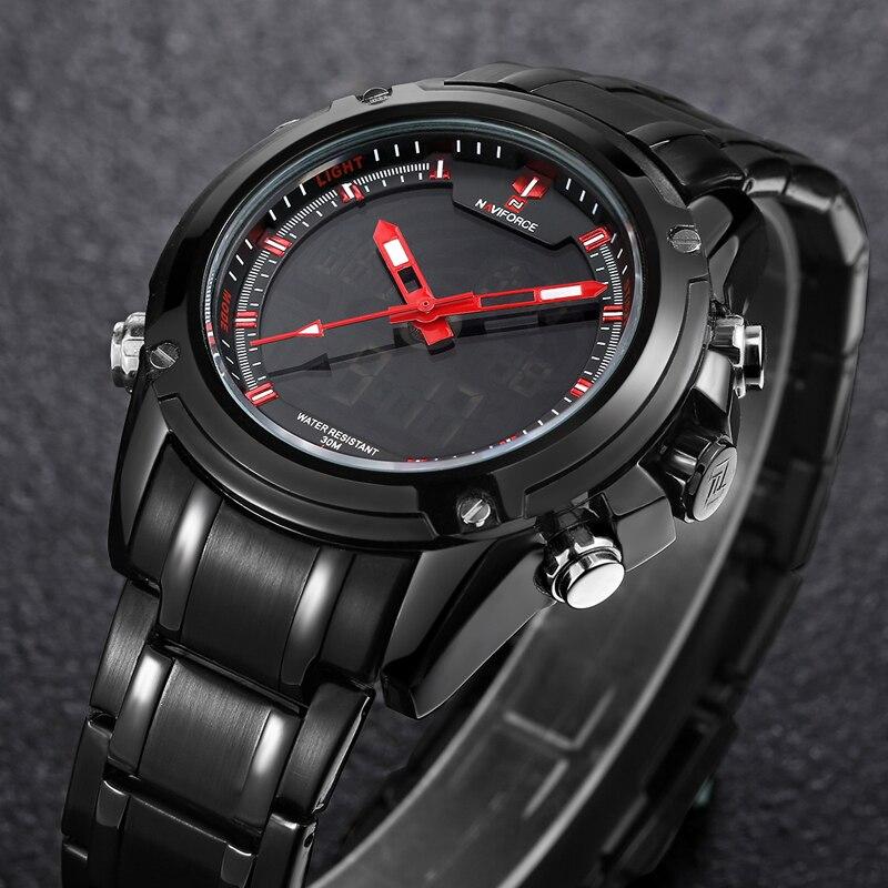 NAVIFORCE Top Luxury Brand Men 3Bar Waterproof LED Sport Military Watches Man Quartz Analog Digital Wristwatch Relogio Masculino