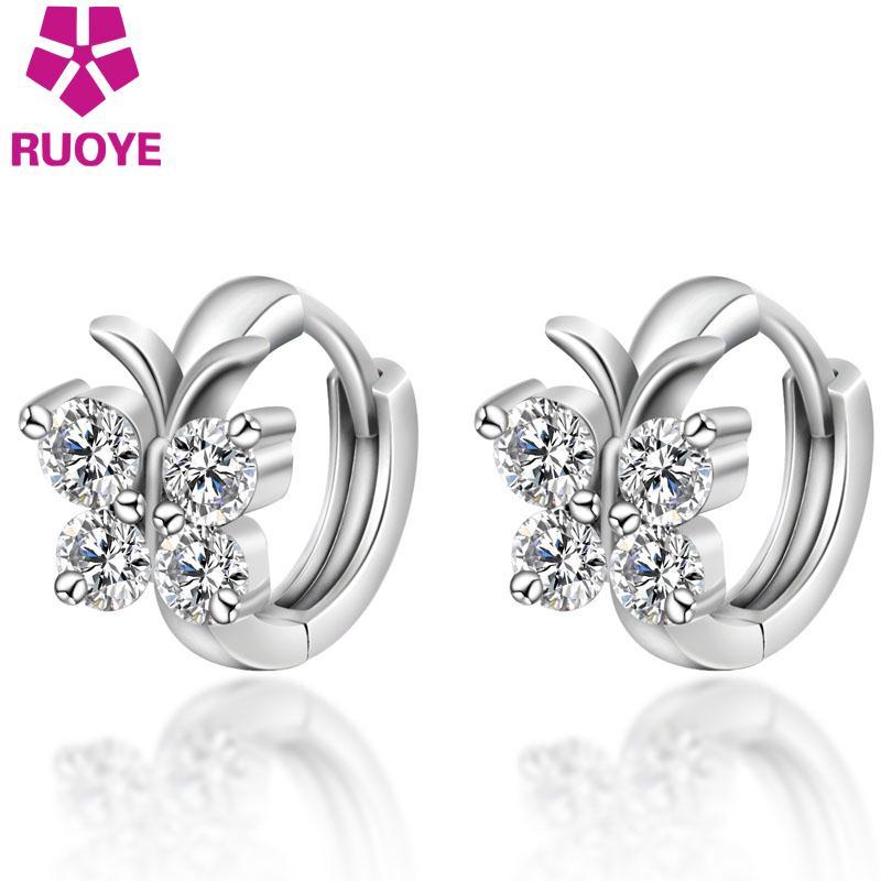 Fashion Luxury Crystal 925 sterling silver Stud Earrings Butterfly Design Earring For Women Girl Ear Jewelry Gift(China)