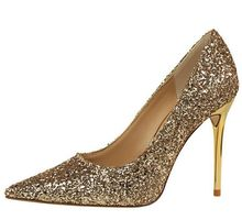 Size 4~8 Autumn Golden Women Shoes Fashion 2016 Glitter High Heels Shoes Women Pumps zapatos mujer (Check Foot Length)