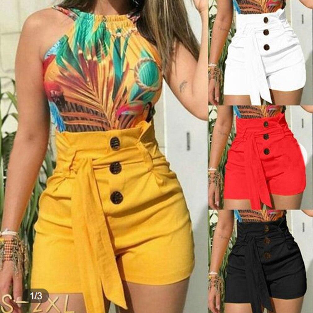 Hot Summer Women Casual High Waisted   Short   Mini Button   Short   Pants Black White Sexy   Shorts   Sashes Pantalones Cortos