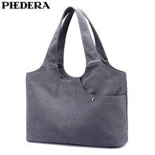 PHEDERA Classic Canvas Women Handbags Vintage Casual Female Shoulder Bags Fashion Spring Purse Blue Beige