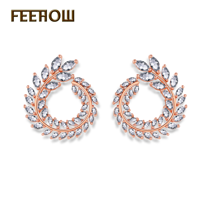 FEEHOW Fashion Olive Branch Cubic Zirconia Stud Earrings Brand Crystal Leaf Jewelry for Women Boucle doreille FWEP455