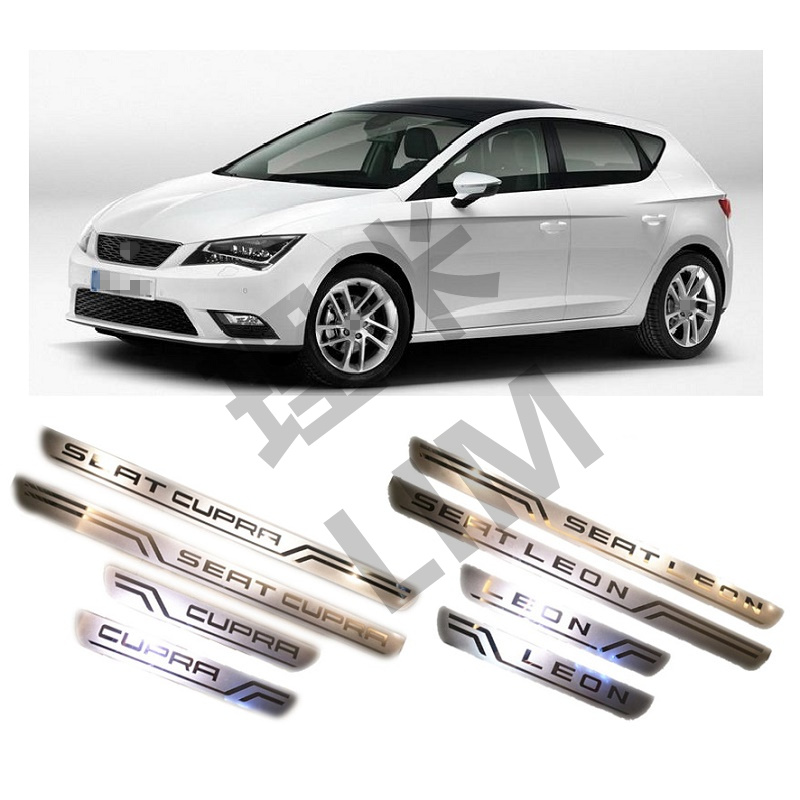цена на Suitable for SEAT LEON CUPRA 2010 2011 2012 2013 2014 2015 Stainless Steel Scuff Plate Door Sill Cover Trim Car Accessories