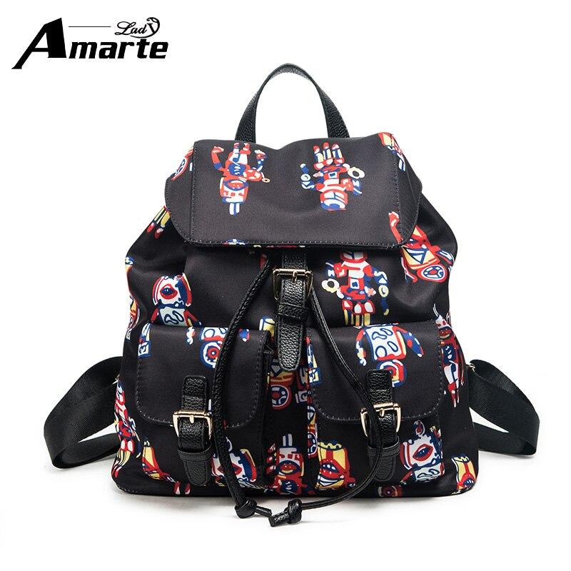 Amarte Nylon Women Backpack Flip Leisure School Bags Backpacks for College Girls Shoulder Bag Embroidery Floral