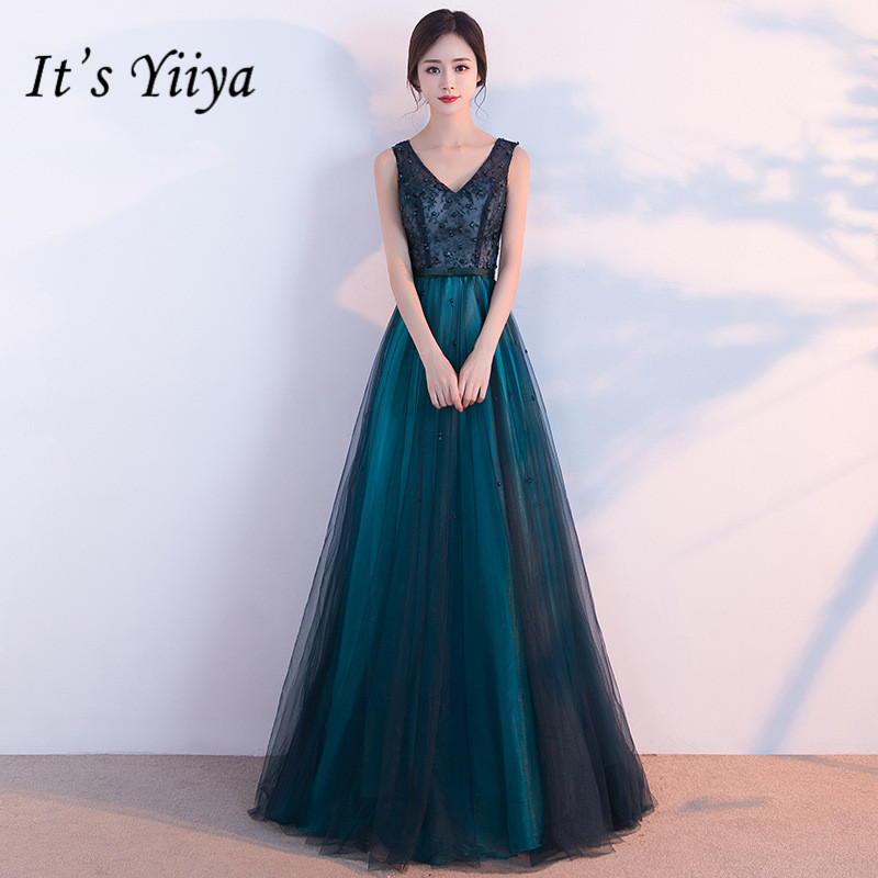 It's YiiYa New V-neck   Prom     Dresses   Elegant Blackish Green Floor-length Evening Gown YG004