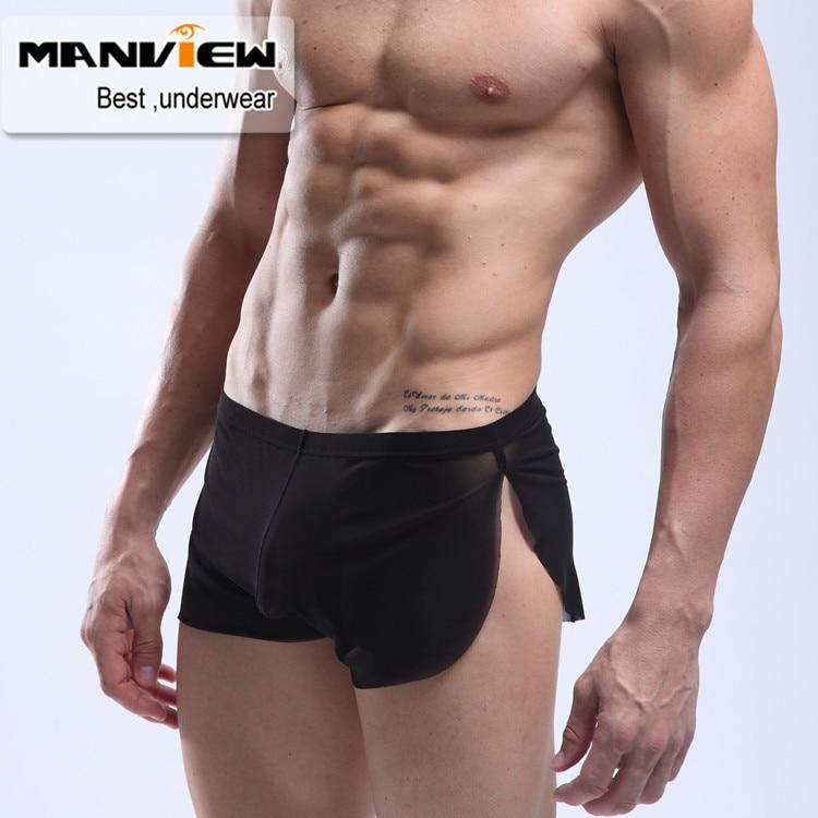 Manview düşük bel şeffaf külot ultra-ince gazlı bez külot erkek gövde See-Thru iç çamaşırı