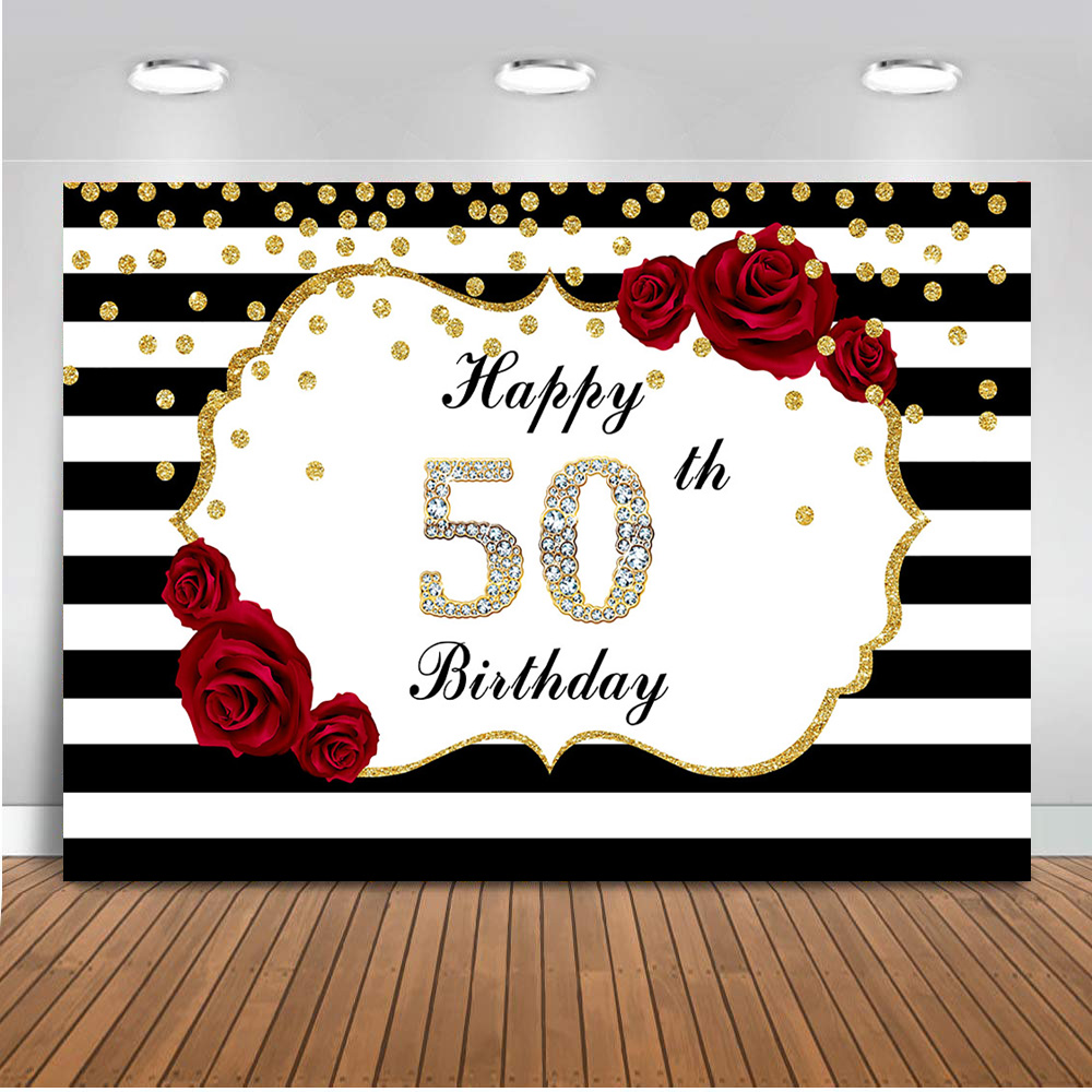 Neoback <font><b>happy</b></font> <font><b>50th</b></font> <font><b>birthday</b></font> <font><b>backdrop</b></font> for photography party decoration banner white black stripe background for photo studio 510 image
