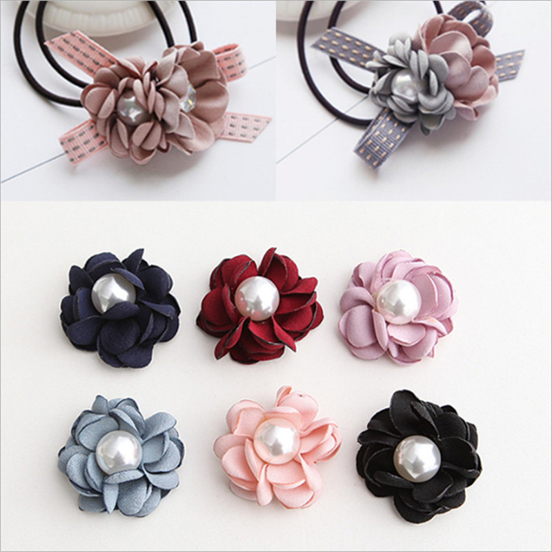 30pcs Hand burnt edges flowers Hair accessories Headwear brooch Clothing flowers DIY bags skirt Hat decoration pearl flower
