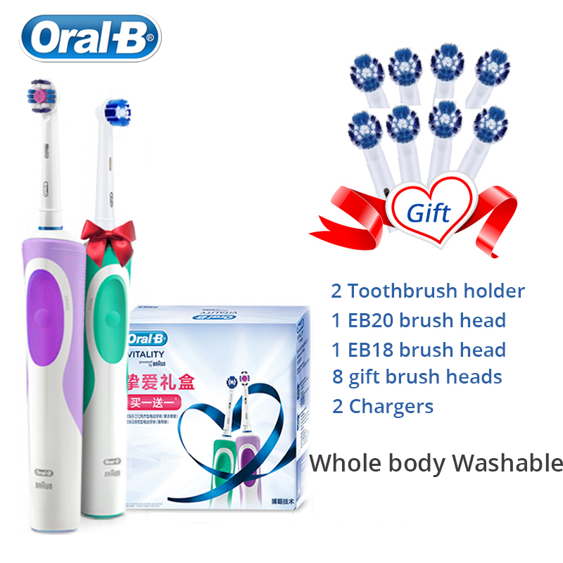 Oral B Electric Toothbrush 2D Rotary Deep Clean Teeth Waterproof Rechargeable Every Toothbrush Gift 4 EB20A