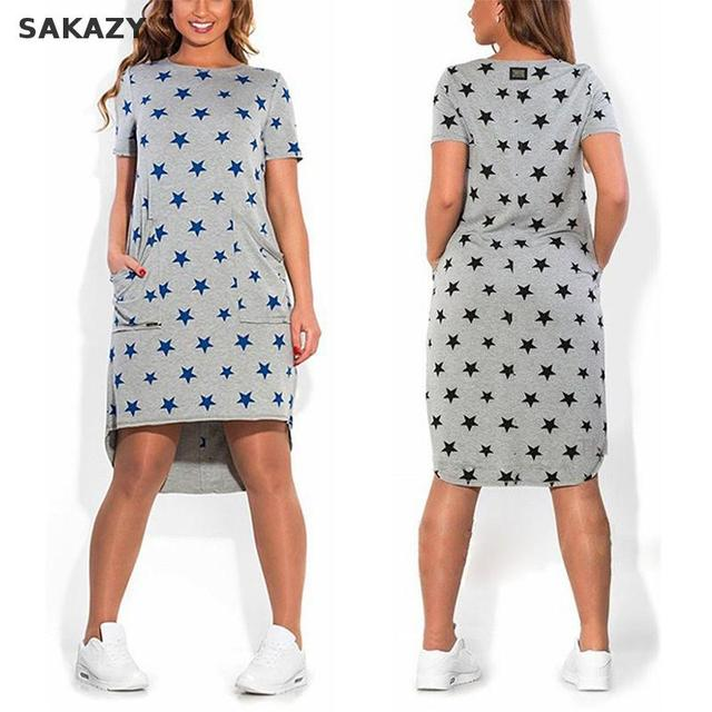 2017 Sakazy Women Plus Size Casual Dress Summer Fashion Loose Printed Short Sleeve O-neck Dress Vestidos Pocket Maxi Size L-6xl