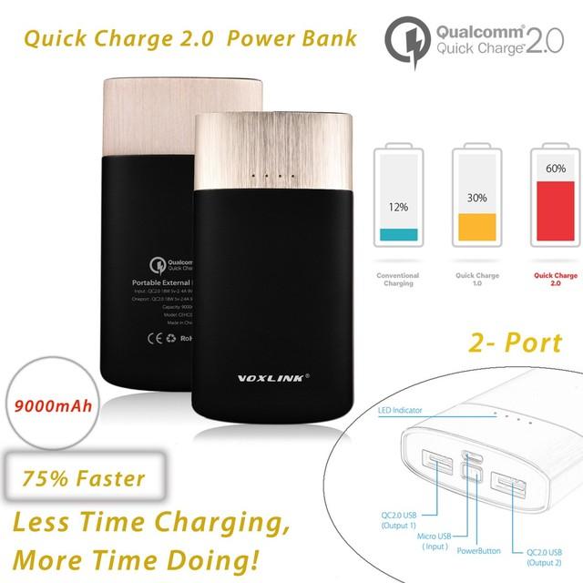 [Qualcomm certificada] voxlink carga rápida 2.0 9000 mah bateria externa power bank dual usb carregador rápido para galaxy s6-black