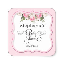 Floral Baby Shower Personalized Sticker