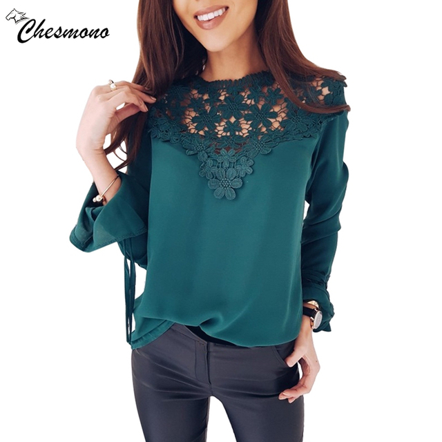 eb1917f28c2 Lace Chiffon Blouse Shirt Women Tops 2018 spring summer Sexy all match  Casual Long Sleeve hollow