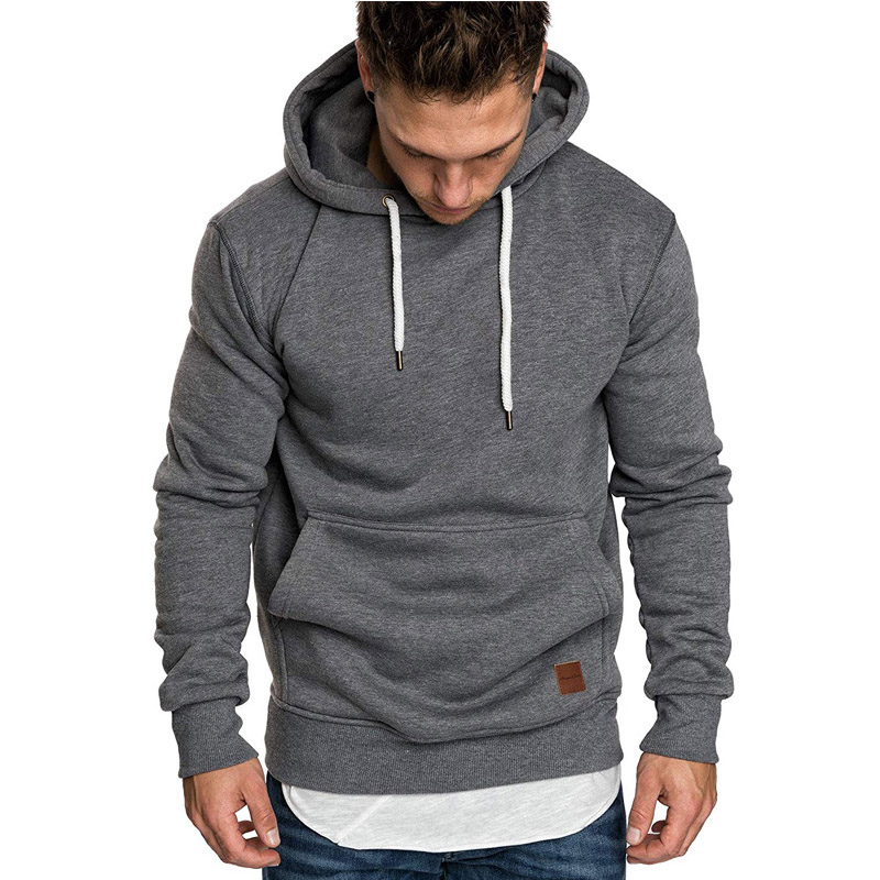 Mens New Fashion Spring Hooded Sweatshirts Cotton Solid Slim Pockets Hoodies Pullover Tops Streetwear For Male Casual Coats 2019