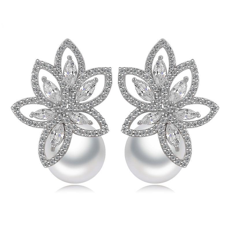 Orecchini di perle Gioielli di colore Argenteo AAA Cubic Zirconia Sposa Orecchini per Le Donne Quotidiano Del Partito di Usura Accessori Regalo