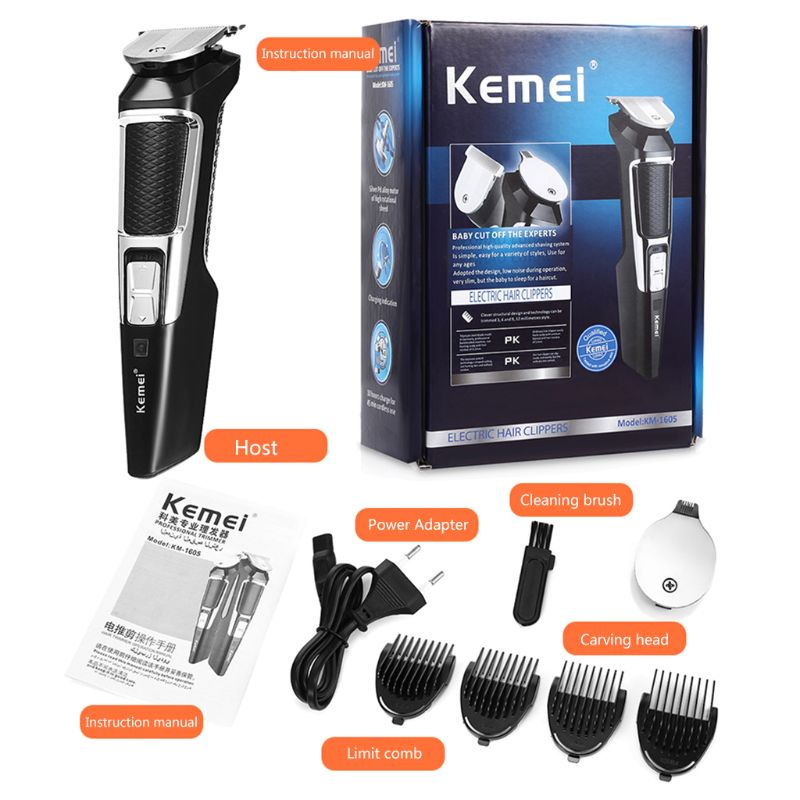 1 Set Kemei KM-1605 Powerful Hair Trimmers Cordless Rechargable Electric Hair Clipper Trimmer Styling Haircut Hair Cutter With 4