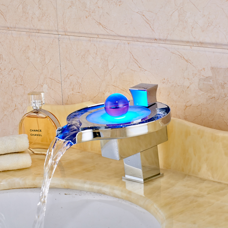 Luxury Led Faucet Bathroom Basin Faucet Brass Chromed led Waterfall Taps Water Power Basin led Mixer