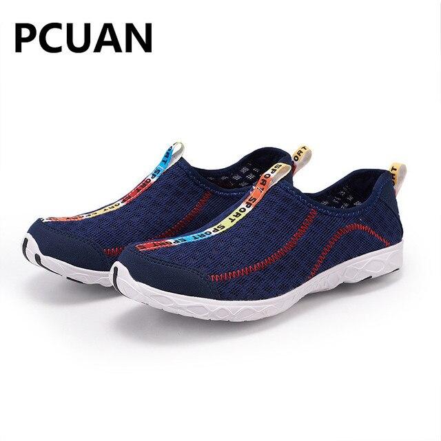 Thời trang mới ngoài trời nổ giày giản dị giày lưới thoáng khí lội giày giày thể thao ánh sáng sông giày