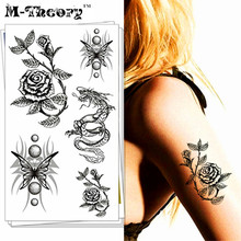 M-Theory Black 3D Flowers Body Makeup Temporary 3d Tattoos Sticker Flash Tatoos Body Arts Tatto Sticker