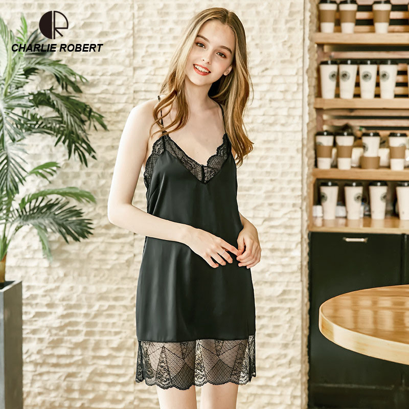 CR 2018 Womens Sexy Lingerie Satin Silk Night Dress Lace Sleepwear Nightgown Summer Nightwear Summer Dress Drop Shipping