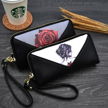 KANDRA 2019 New Flower Print Women Wallets Female Clutch Purse Patchwork Luxury Brand Long Zipper Coin Ladies Wallet