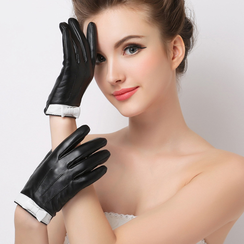 Genuine Leather Gloves Women 39 s Winter Plus Velvet Touchscreen Sheepskin Gloves Bowknot Fashion Trend Black Driving Glove F8001 in Women 39 s Gloves from Apparel Accessories