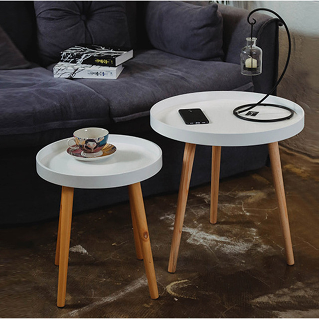 European Style Coffee Table Side Living Room Elegant Solid Wood Furniture Set Colorful Simple Fashion Round