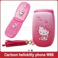 """KUH W88 1.2 """"Flip desbloqueado teléfono pequeño mujeres señora de la muchacha linda del cabrito de dibujos animados hellokitty mini teléfono móvil celular móvil P473"""