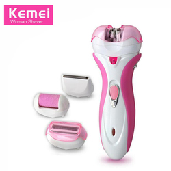 Kemei 4in1 Multifunctional Electric Shaver Rechargeable Women Epilator Hair Removal Foot Care Tool Razor Bikini Legs KM-2531