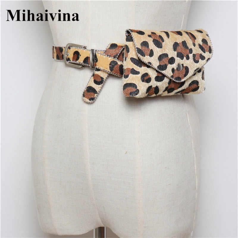 Mihaivina ヒョウ女性ベルトバッグクールカジュアルウエストバッグボールチェーンファニーパック外電話旅行ハンディ機能ウエストパック