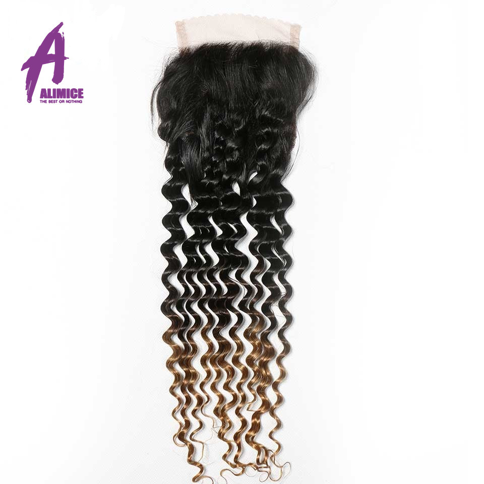 Alimice Ombre Bundles With Closure Indian Deep Wave Human Hair Weaves T1B427 Non Remy Hair Extensions Ombre Three Tone  (3)