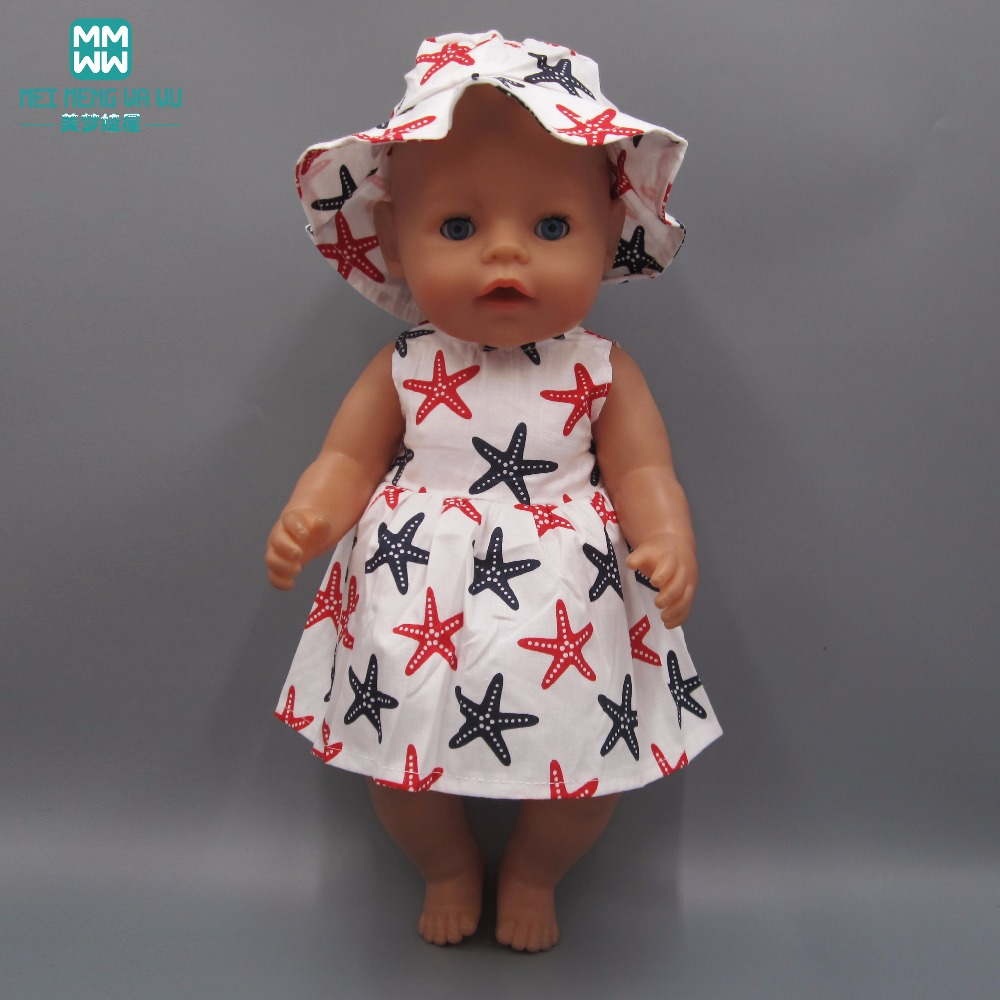 Clothes for dolls fits 43cm Zapf Baby Born doll and 45cm American Girl doll Print casual dress rose christmas gift 18 inch american girl doll swim clothes dress also fit for 43cm baby born zapf dolls