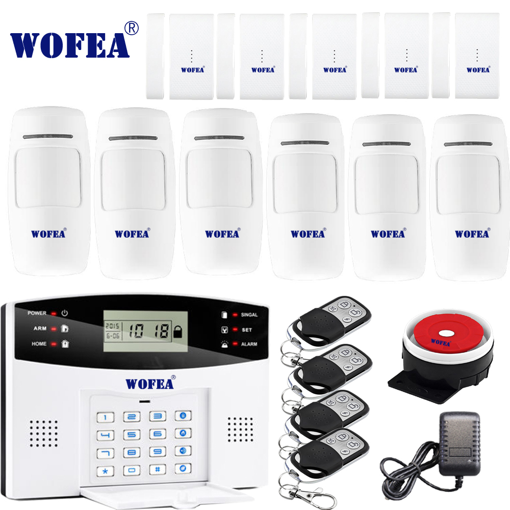 Free shipping Wofea IOS Android APP Control Wireless Home Security GSM Alarm System two way Intercom SMS notice for power off-in Alarm System Kits from Security & Protection