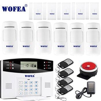 Freies verschiffen Wofea IOS Android APP Control Wireless Home Security GSM Alarm System zwei gegensprechanlage SMS hinweis für power off