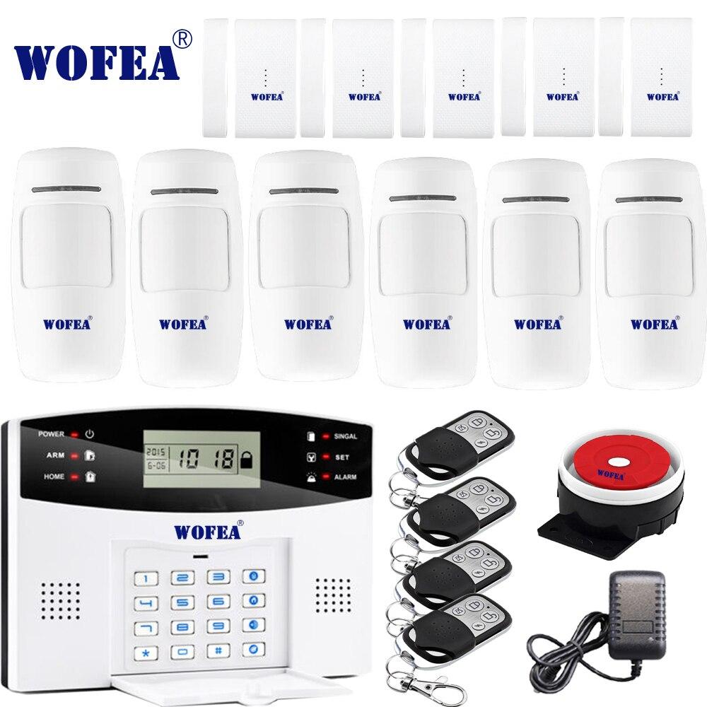 Livraison gratuite Wofea IOS Android APP contrôle sans fil sécurité à domicile GSM système d'alarme interphone bidirectionnel SMS avis pour la mise hors tension
