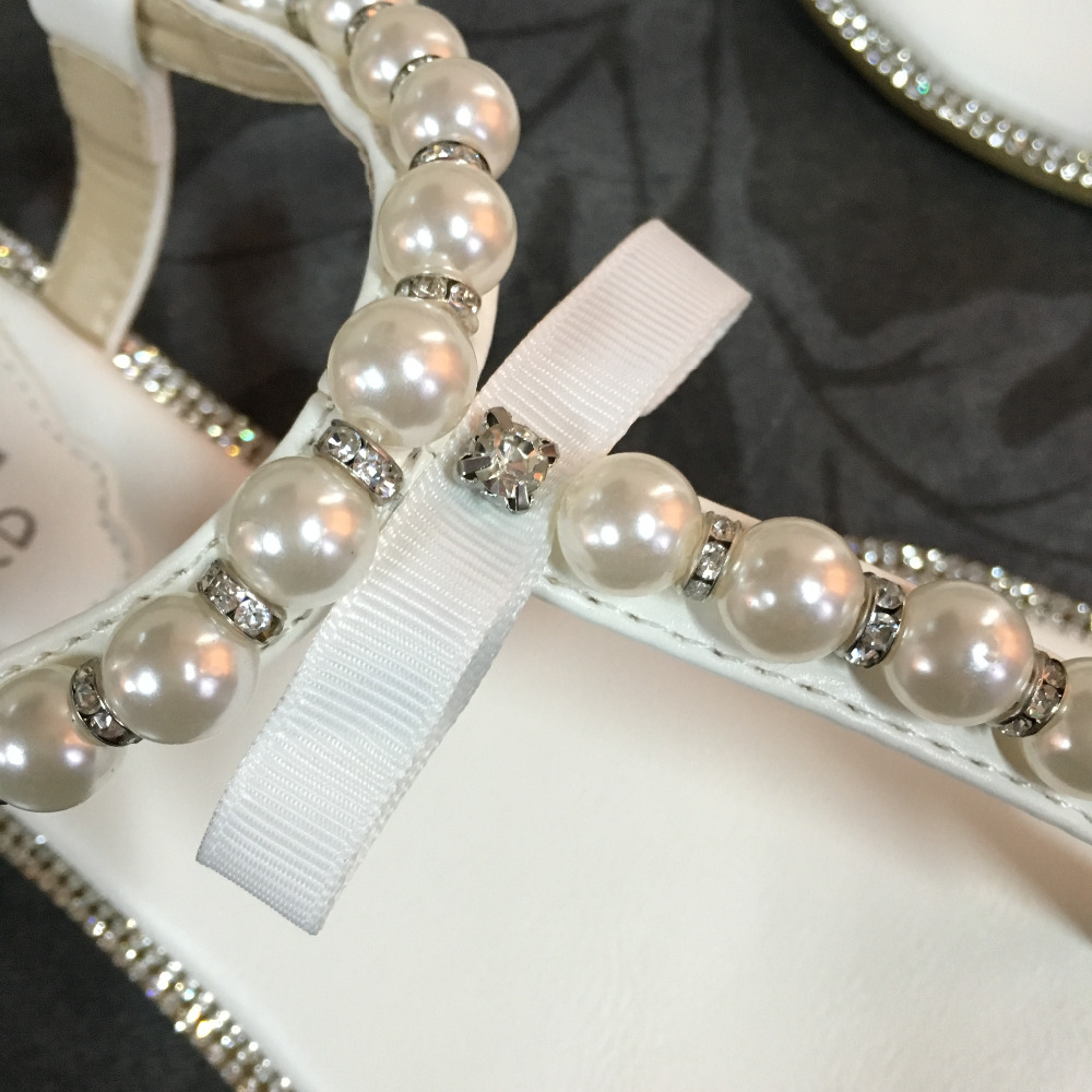 022edb0bced6 White wedding flat sandals bridal pearl shoes women flip flops diamond  rhinestone pu leather beach beaded sandle Brand SheSole-in Women s Sandals  from Shoes ...