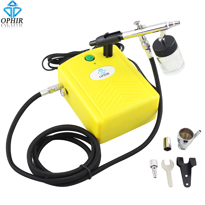 OPHIR 0.35mm Dual-Action Airbrush Kit Yellow Mini Air Compressor for Temporary Tattoo Hobby Cake Decoration_AC034+AC072 ophir temporary tattoo tool dual action airbrush kit with air tank compressor for model hobby cake paint nail art ac090 ac004