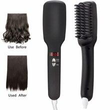 Multifunction Lonic Hair Straightening Brush with Ceramic Tourmaline Electric Straighteners Comb Tools