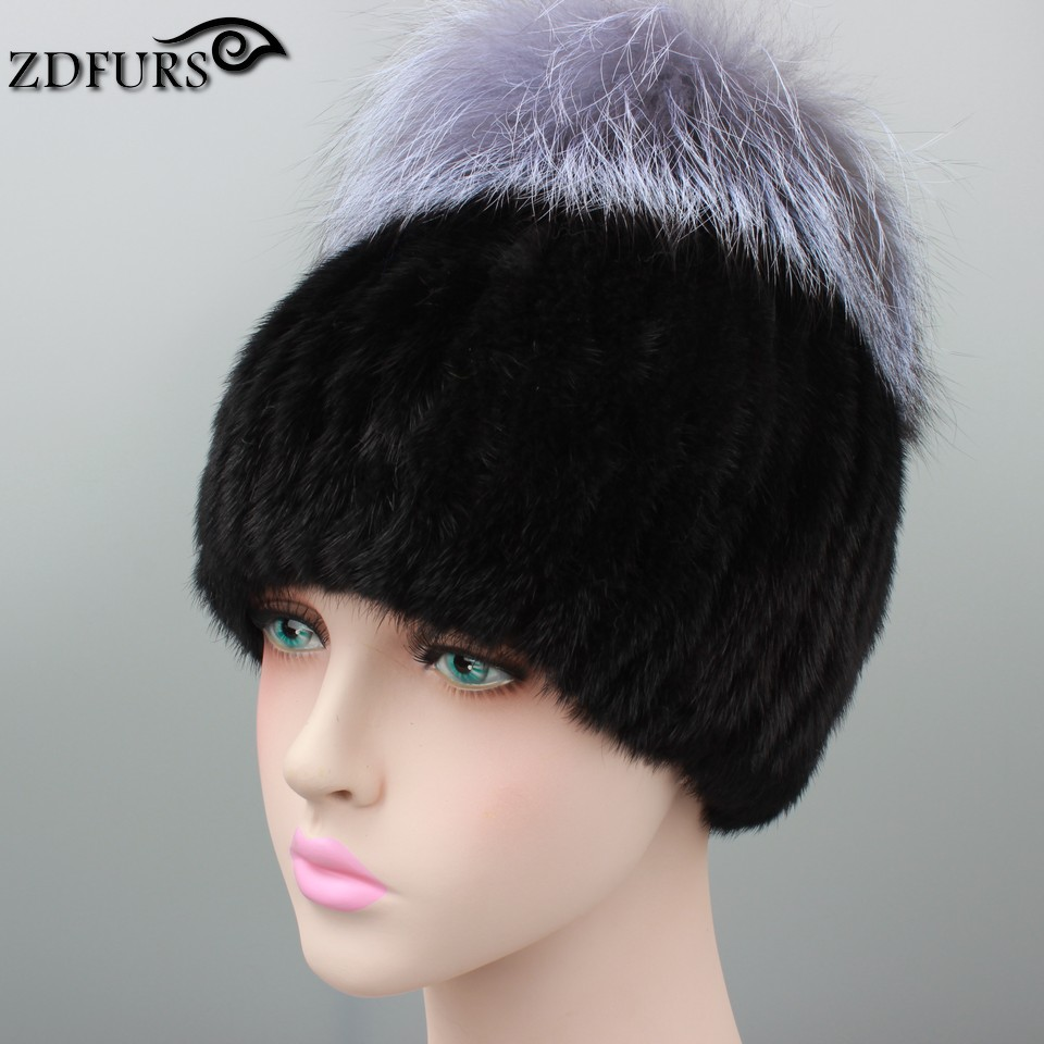 532f86f87 ZDFURS * Russia winter hats for women genuine mink fur hat with ...