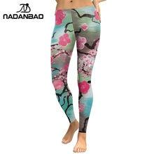 df200dc13ce NADANBAO New Arrival 2018 Leggings Women Pink Plum Blossom Digital Print  Fitness Leggins Plus Size Elastic Workout Pants Legging