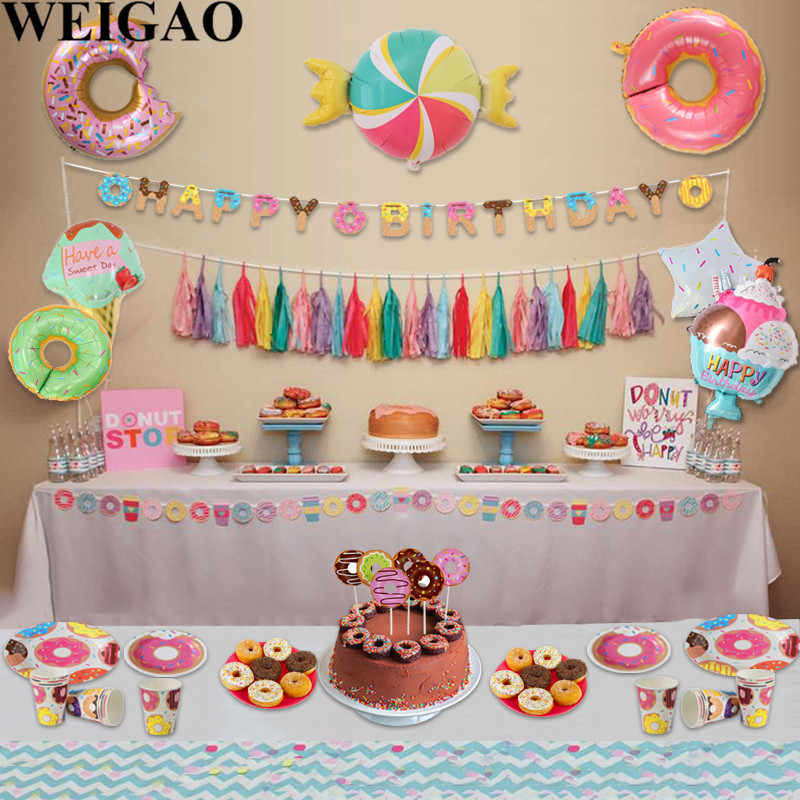 WEIGAO Donut Party Donut Grow Up Birthday Party Decoration Kids 1st Birthday Disposable Tableware Kit Paper Plate Cup Napkins